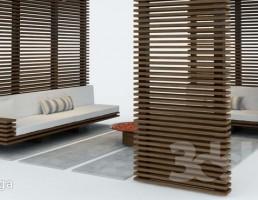 آلاچیق چوبی باغ + ست مبلمان