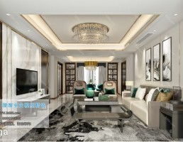 صحنه داخلی اتاق نشیمن سبک چینی