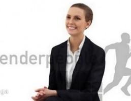 کاراکتر زن نشسته در حال خندیدن