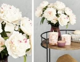 گل محمدی + شمع + شمعدان