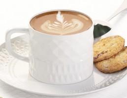 فنجان + زیر فنجان چینی + قهوه + قاشق