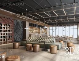 صحنه داخلی کافه سبک صنعتی (Industrial)