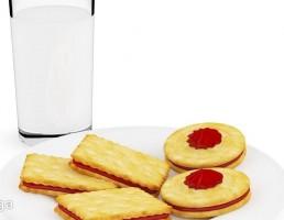 لیوان شیر + بشقاب شیرینی