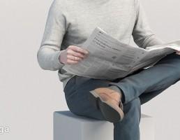 کاراکتر مرد در حال خواندن روزنامه