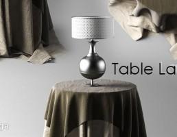 میز گرد + رومیزی + آباژور