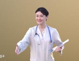 کاراکتر زن دکتر در حال دست دادن