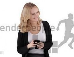 کاراکتر زن نشسته در حال نوشیدن