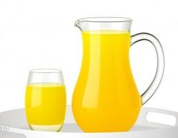 پارچ + لیوان پر از آب پرتقال