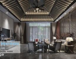 اتاق نشیمن کلاسیک سبک آسیایی