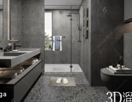 صحنه داخلی حمام سبک Industria
