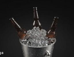 سطل یخ + بطری آبجو