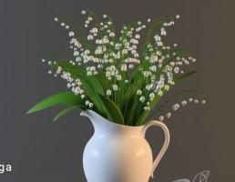 گلدان چینی + گل