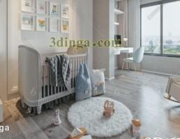 صحنه داخلی اتاق خواب کودک سبک نوردیک