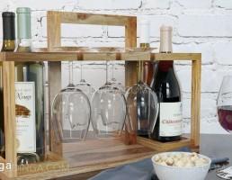 بار چوبی + بطری شراب