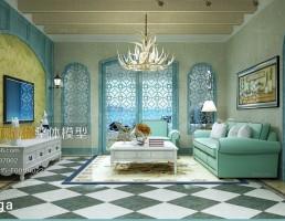 اتاق نشیمن سبک مدیترانه ایی