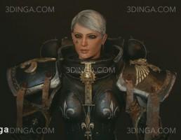 کاراکتر زن جنگجوی ایستاده