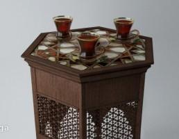 میز قهوه  کلاسیک + استکان چای