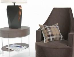 صندلی راحتی + میز کناری + آباژور