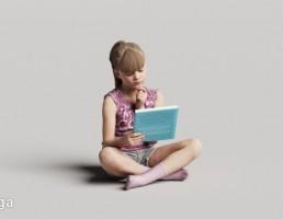 کاراکتر دختر بچه نشسته