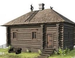 خانه چوبی در مزرعه