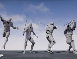 انیمیشن حرکات رزمی  شمشیر