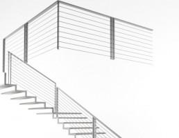 پله چوبی مدرن با میله فلزی