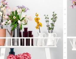 شلف چوبی + گلدان + گل طبیعی