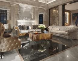 اتاق نشیمن کلاسیک سبک اروپایی