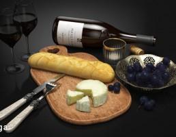 بطری شراب + شراب خوری + میوه