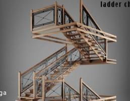 راه پله مارپیچی چوبی