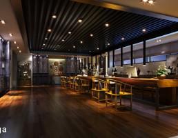 صحنه داخلی کافه + رستوران مدرن