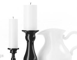 شمع + شمعدان + پارچ آب