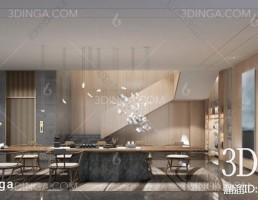 صحنه داخلی سالن آسانسور و راهرو سبک چینی