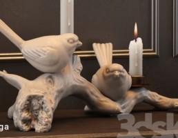 شمع + شمعدان به شکل کبوتر
