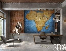 صحنه داخلی فضای اداری سبک صنعتی (industrial)