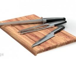 تخته برش چوبی + کارد
