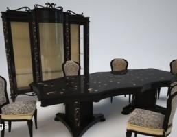 ست میز و صندلی نهارخوری کلاسیک + بوفه