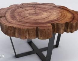 میز چوبی ساخته شده از تنه درخت