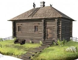 خانه ی چوبی با کاهگل