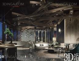 صحنه داخلی فضای سرگرمی سبک چینی