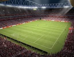 صحنه ورزشگاه فوتبال با طرفداران متحرک