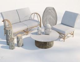 صندلی راحتی + میز عسلی فضای باز