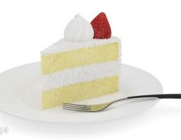 برشی از کیک توت فرنگی
