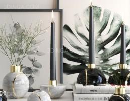 گلدان + تابلو + شمعدان مدرن