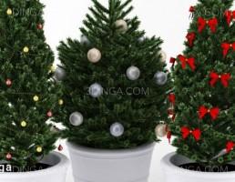 گلدان + درخت کریسمس