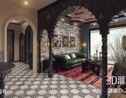 صحنه داخلی اتاق نشیمن آمریکایی