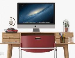 میز تحریر + صندلی + لپ تاپ