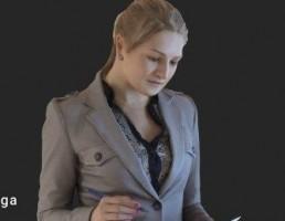 کاراکتر  زن کارمند ایستاده در حال نوشتن