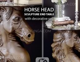میز عسلی مدرن با پایه ای به شکل سر اسب