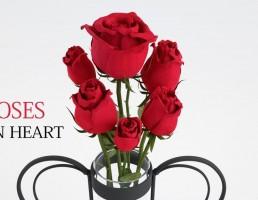 گلدان فانتزی + گل رز